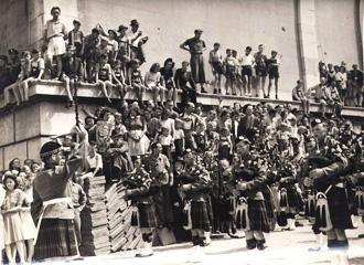 5th/7th Gordon Highlanders on parade (c. 1945/46)