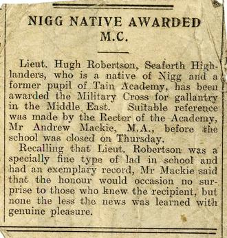 Hugh Robertson receives M.C.