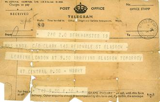 Telegram from Pte. Harry Knox