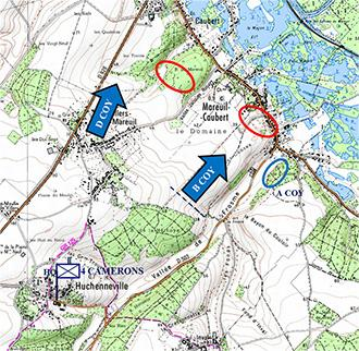 """D"" & ""C"" Coy. Attack positions, Huchenneville"