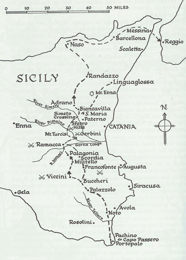 Map of Op. Huskey, Sicily, 1943