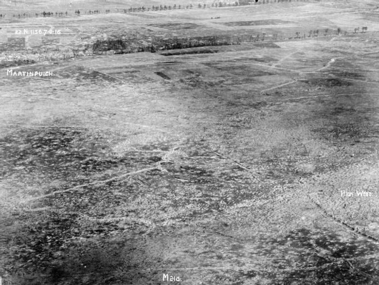 Aerial photograph, High Wood, Somme