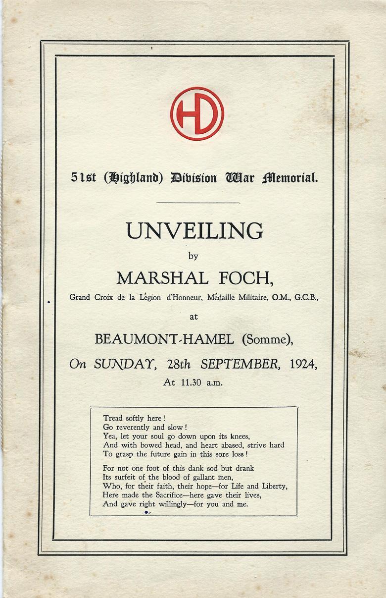 Beaumont-Hamel Memorial Programme