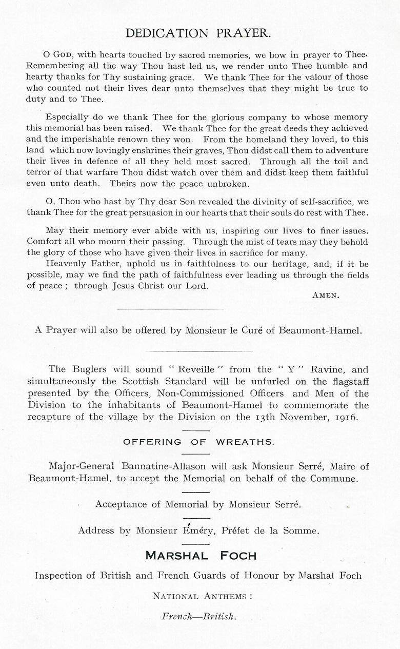 Beaumont-Hamel Memorial Programme (page 4)