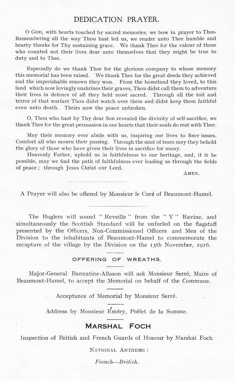 Beaumont-Hamel Memorial Programme (page 4)