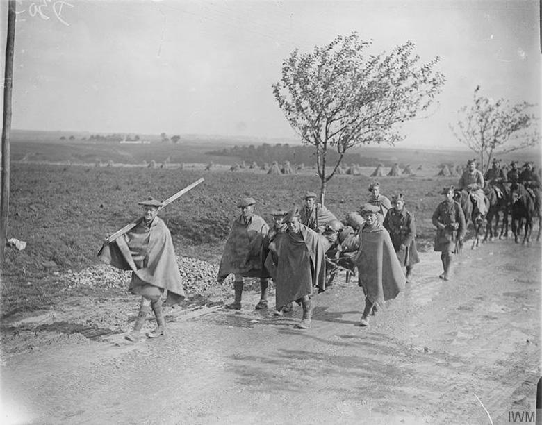 9th Royal Scots marching in waterproofs, Sept 1916