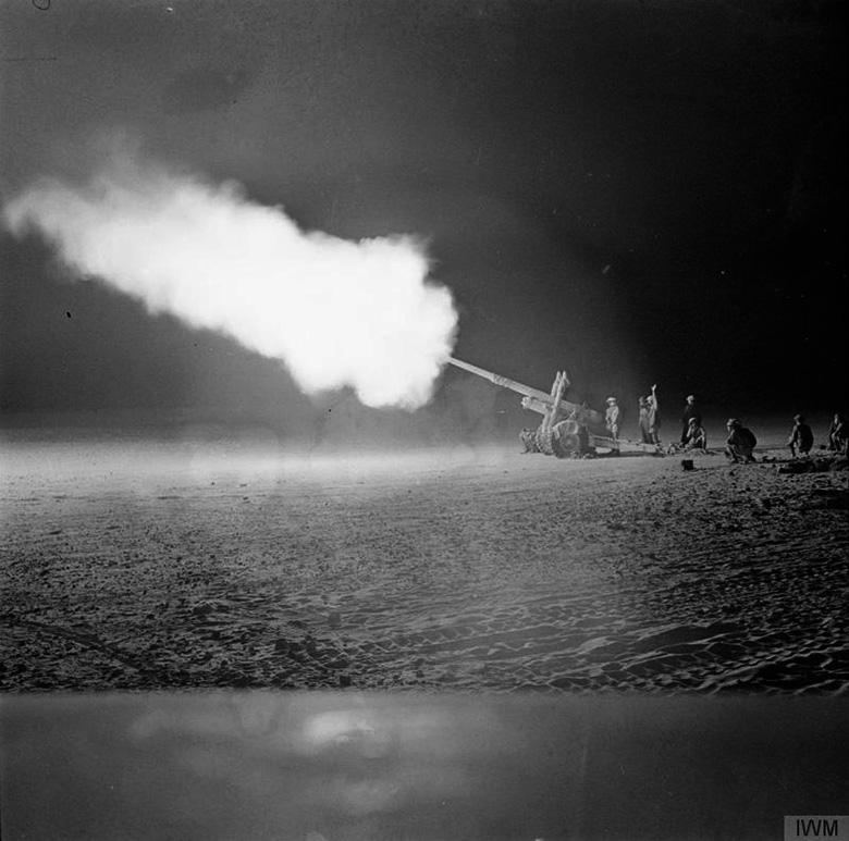 4.5 inch field gun firing at night at El Alamein