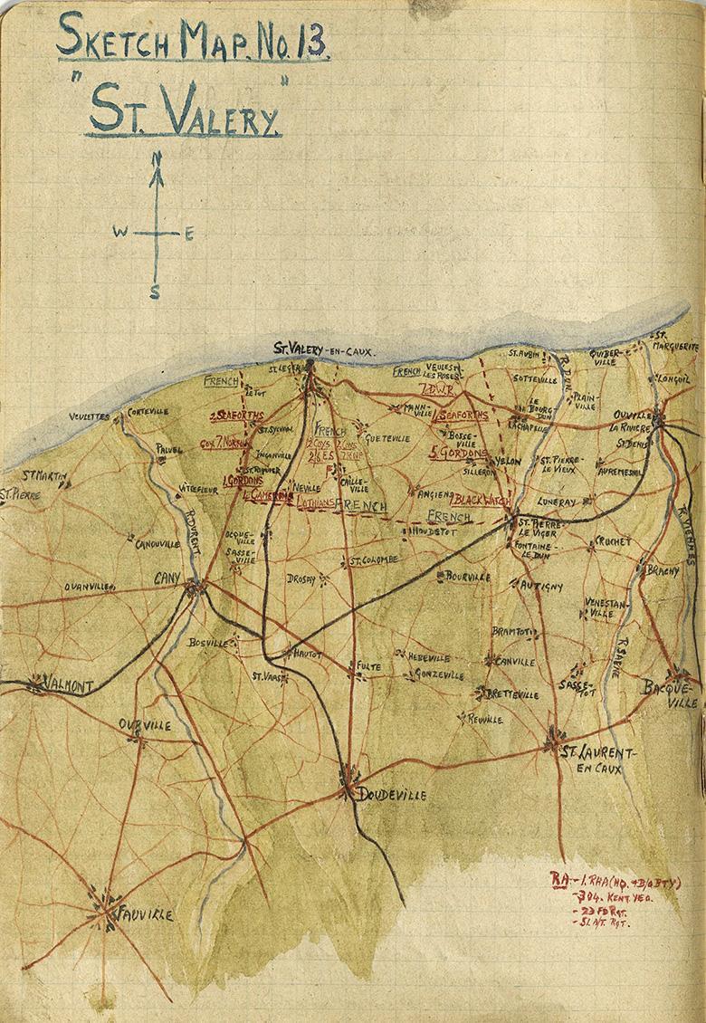 Major Grant Sketch Map (No.13), St Valery