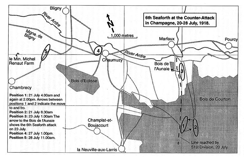 Map 6th Seaforth, Bois de Courton, Jul 1918