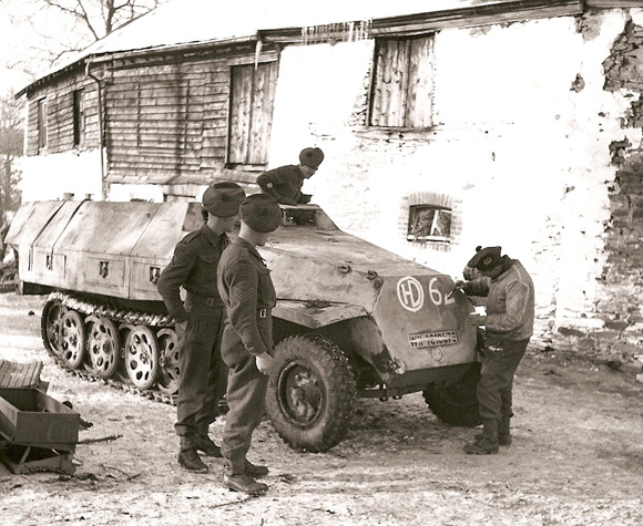 Captured German half track