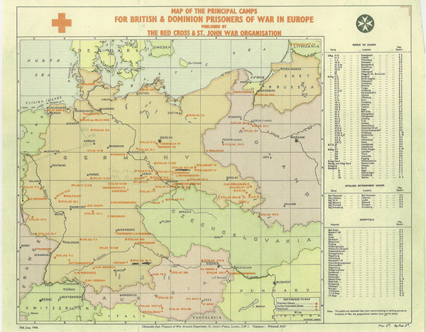 Map of POW camps, 1944