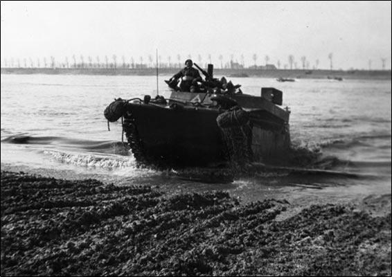 A Buffalo comes ashore, Rhine, 1945