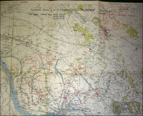 Map of Op. Plunder, Mar 1945