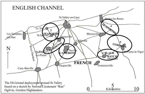 Map of divisional deployment around St. Valery